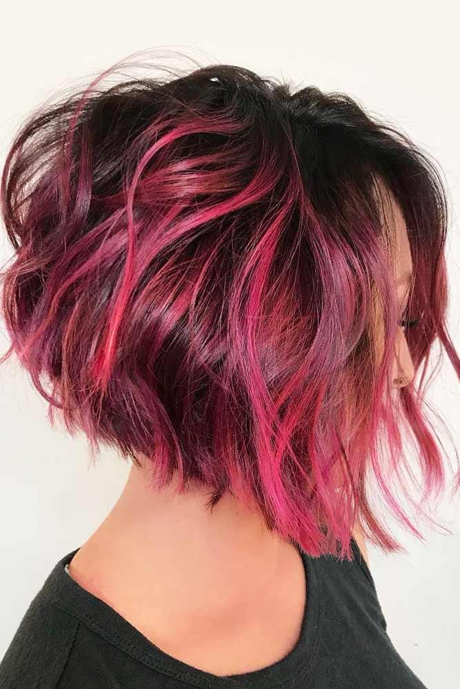 Silky Pink Waves #shortwavyhair #wavyhair #shorthair #bobhaircut