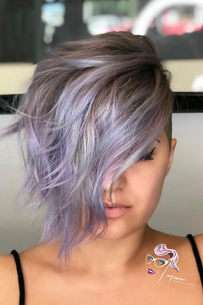 Side Shaved Fringe Hairstyle #shortwavyhair #wavyhair #shorthair #bobhaircut #violethair