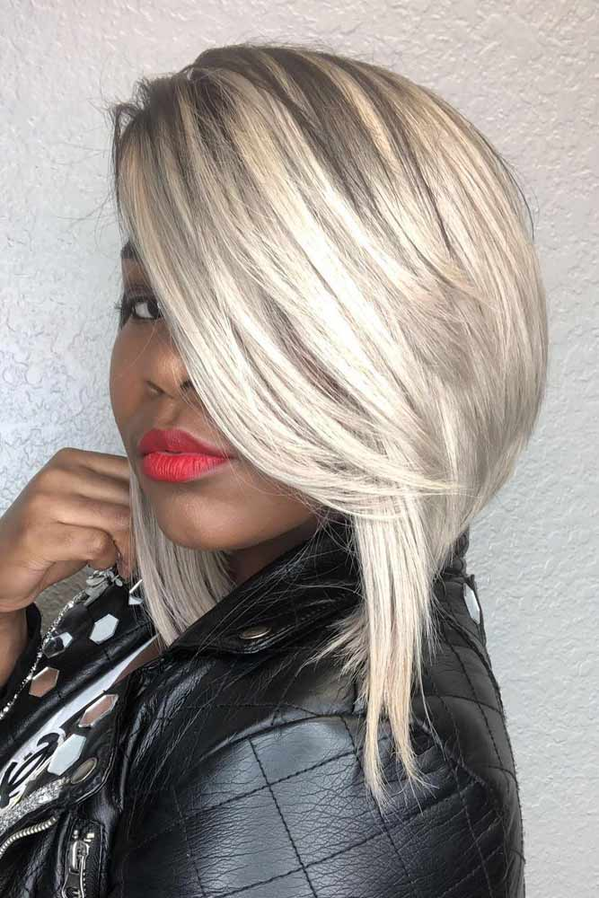 Side Swept White Weave Hairstyles