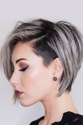 Bold Pixie Bob With Undercut #shorthaircuts #shorthaircutsforgirls #haircuts #bobhaircut #greyhighlights