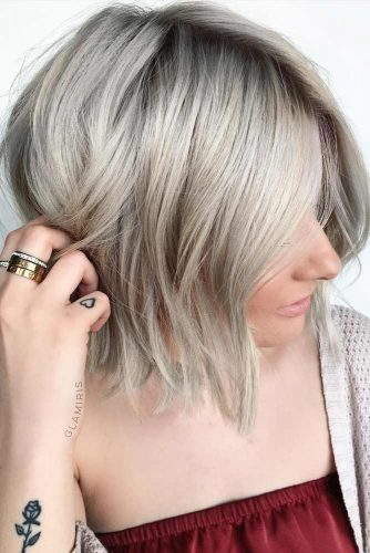 Short To Medium Length Silver Bob #shorthaircuts #shorthaircutsforgirls #haircuts #bobhaircut #silverhair