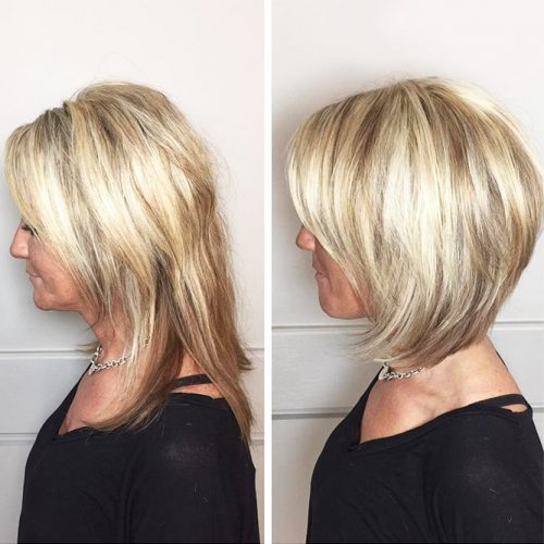 Side Parted Layered Medium Bob #bob #layeredhair #bangs