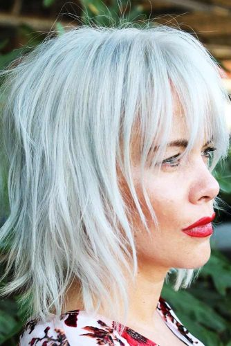 Layered Long Platinum Blonde Bang #layeredhair #bob #bangs