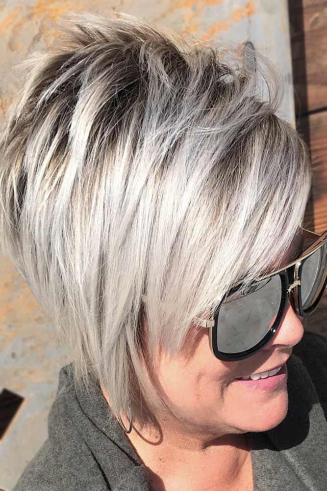 Choppy Blonde Pixie With Long Side Bangs #bangs #pixie #shorthair