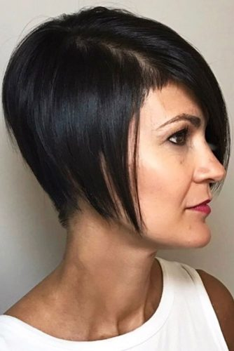 Short Bob With Side Long Bang #bangs #shorthair #bob