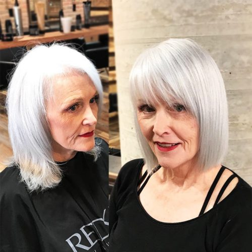 Sleek Platinum Blonde Bob #sleekhair #bob #bangs