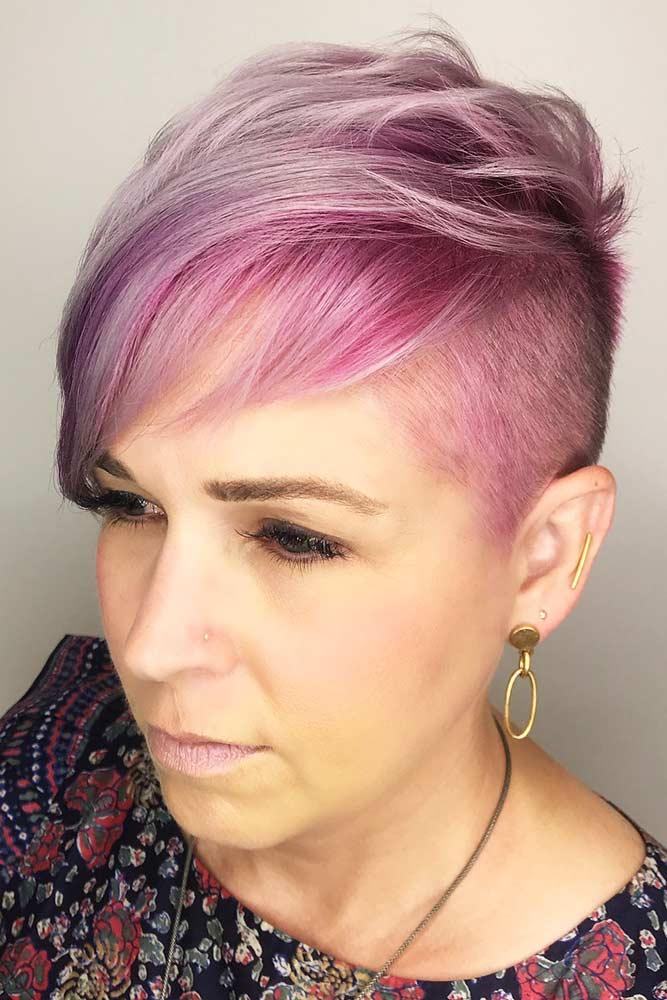 Sassy Undercut Pink Pixie #pixie #layeredhair #bangs