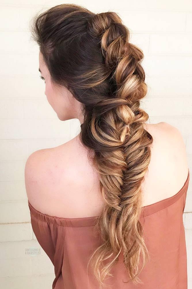 Braided Mohawk Hairstyle With Weave #wavyhair #longhair #braids #fauxhawk