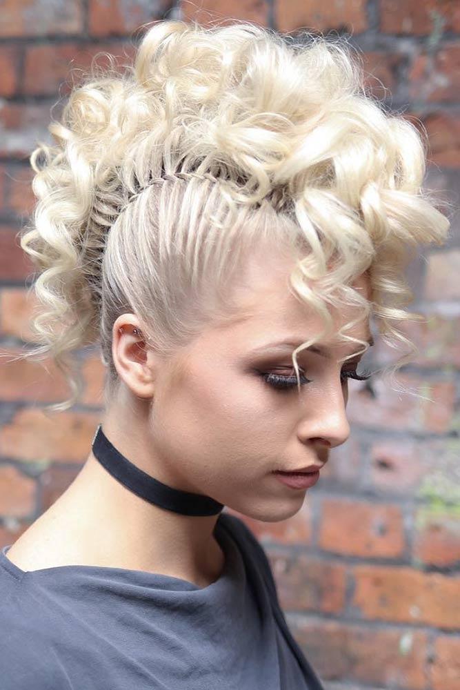 Chic Curly Mohawk Updo #braids #curlyhair #fauxhawk