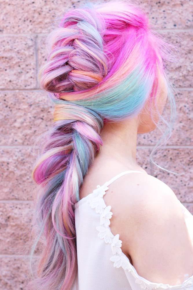 Bright And Colorful Tuxedo Braid #longhair #braids #fauxhawk