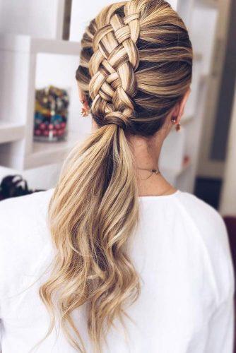 Four Strand Braid Into Ponytail #mohawk #braids #ponytail