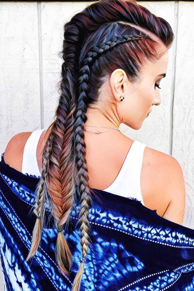 Cool Triple Braided Mohawk Style #braids #longhair