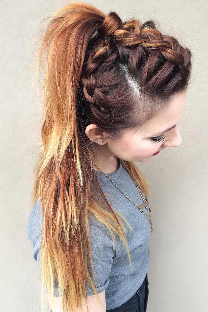 Triple Mohawk Dutch Braid #braids #ponytail #mohawk