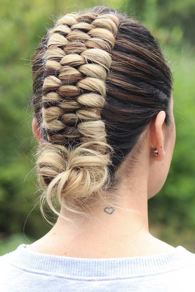 Tight Mohawk With Low Knot #fauxhawk #braids #updo #bun