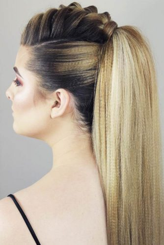 Braided Mohawk Ponytail #longhair #braids #ponytail #fauxhawk
