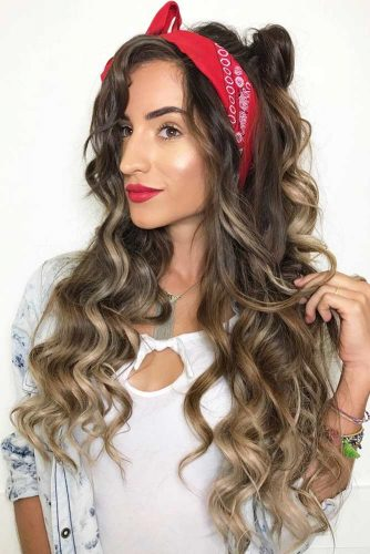 Half-Up Knot With A Headband #halfup #wavyhair