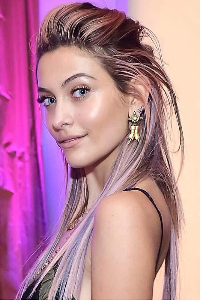 Half-Up Hairdo For Straight Hair #straighthair #layeredhair #diamondface