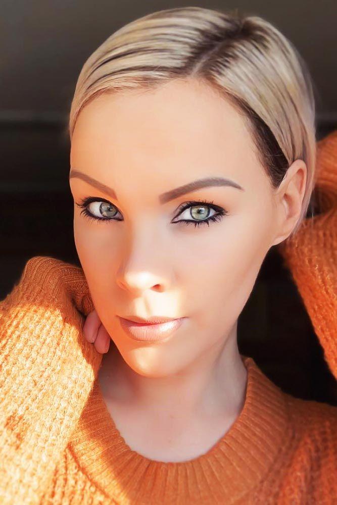 Sleek Styling For Short Pixie #faceshapehairstyles #diamondfaceshape