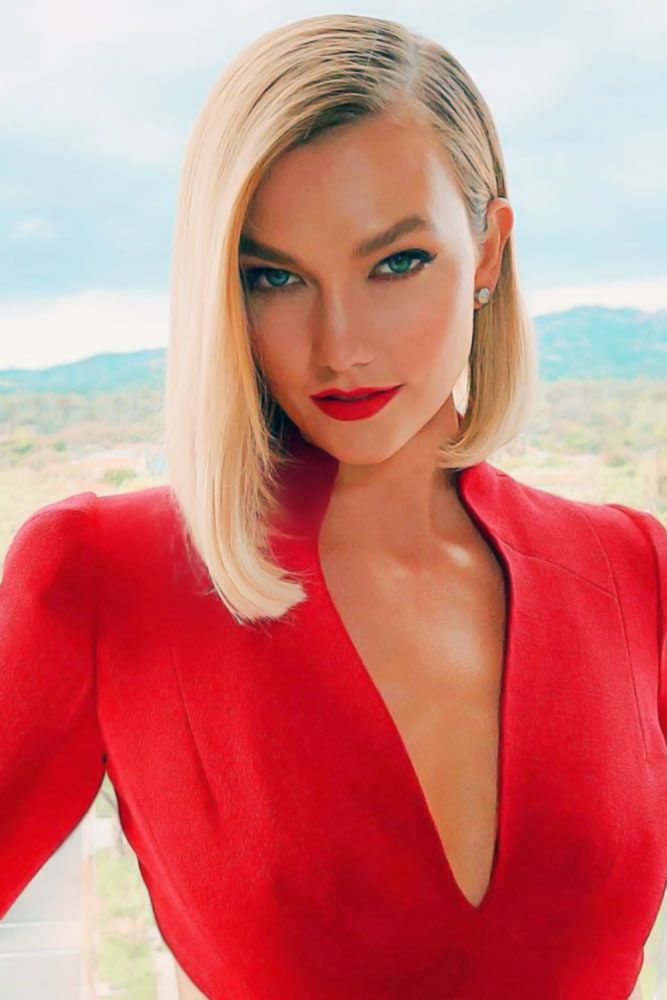 Straight Bob With Side Part #faceshapehairstyles #diamondfaceshape