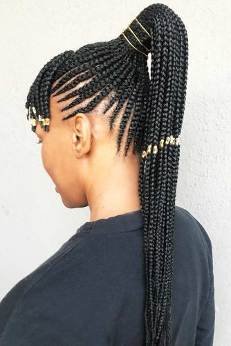 Fancy Long Braids With Accessories #cornrows #braids #ponytails
