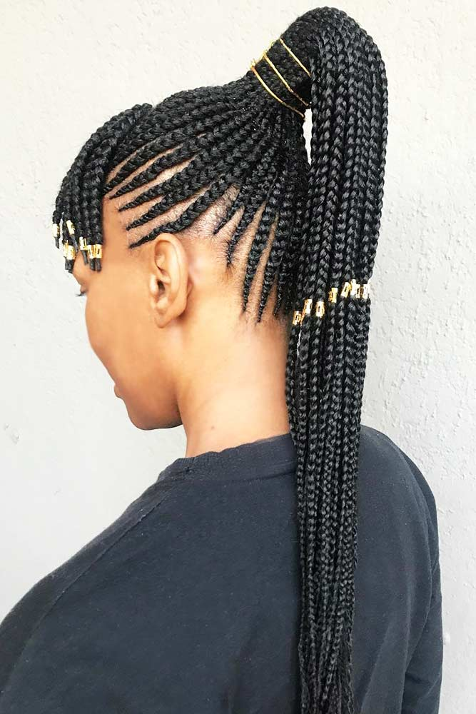 Fancy Long Braids With Accessories #cornrows #braids #ponytails