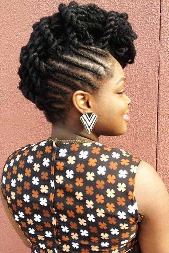 Unbelievably Full Black Braided Mohawk cornrows #braids #fauxhawk