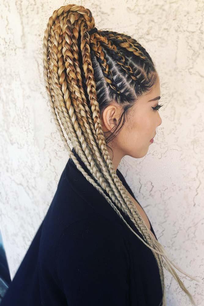 Braided Cornrow Ponytail Ombre #cornrows #braids #ponytail
