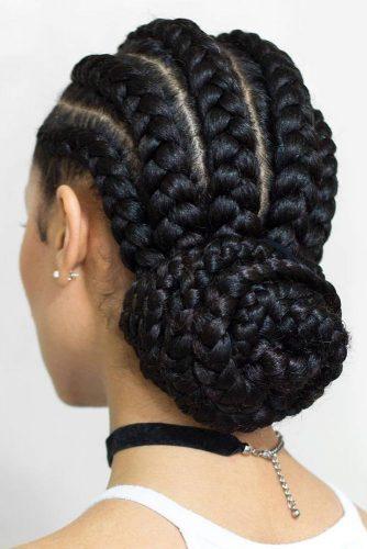Braided Low Bun #braids #cornrowbraids #bun
