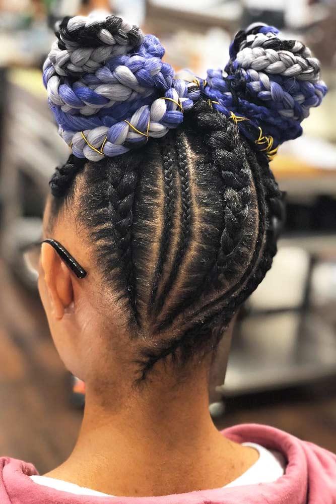 Braided Space Buns #braids #cornrowbraids #buns