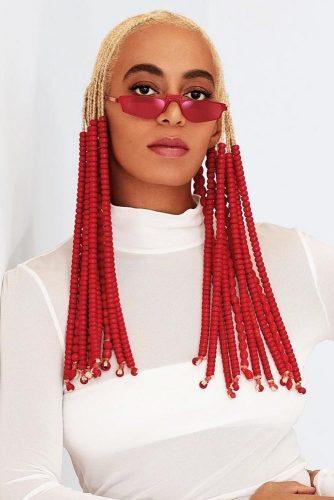 Blonde Cornrow Braids With Bright Beads #cornrows #braids #blondehair