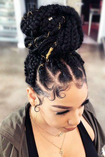 Massive Braided High Bun #cornrows #braids #bun