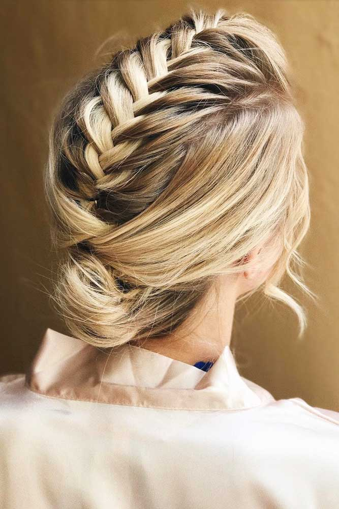Lovely Braided Low Bun #hairbun #shorthair #bunhairstyles #hairstyles #blondehair