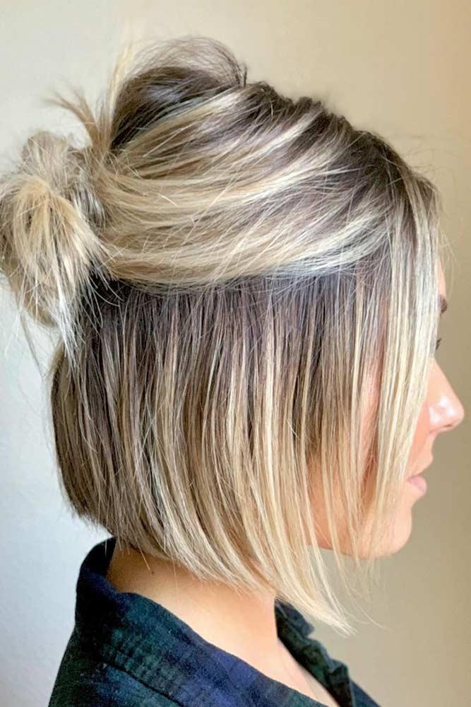 Half Up Messy Bun #hairbun #shorthair #bunhairstyles #hairstyles