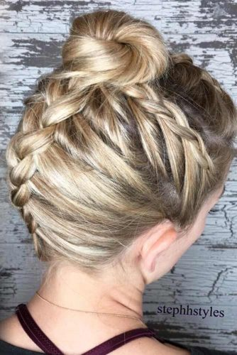 Fascinating Braided High Bun #hairbun #shorthair #bunhairstyles #hairstyles #blondehair