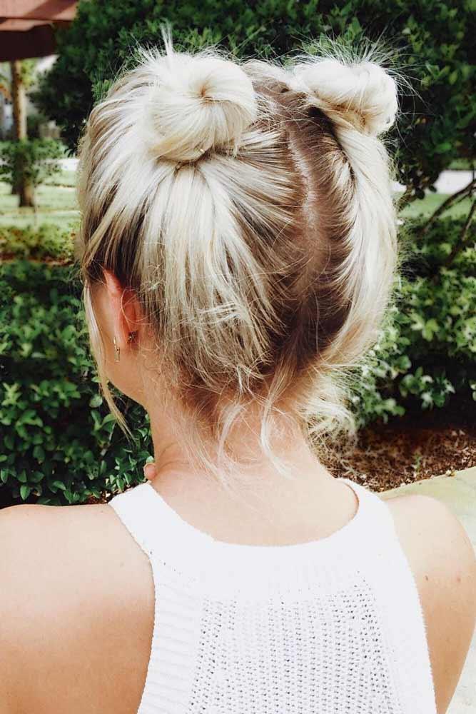 Cute Little Space Buns #hairbun #shorthair #bunhairstyles #hairstyles #blondehair
