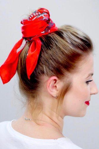 High Bun With Headscarf #hairbun #shorthair #bunhairstyles #hairstyles #blondehair
