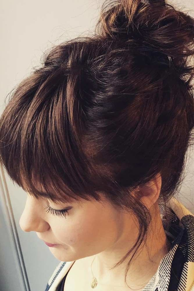 Messy Top Knot With Fringe #hairbun #shorthair #bunhairstyles #hairstyles