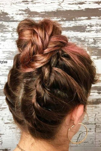Twist Braids Into High Bun #hairbun #shorthair #bunhairstyles #hairstyles #braids