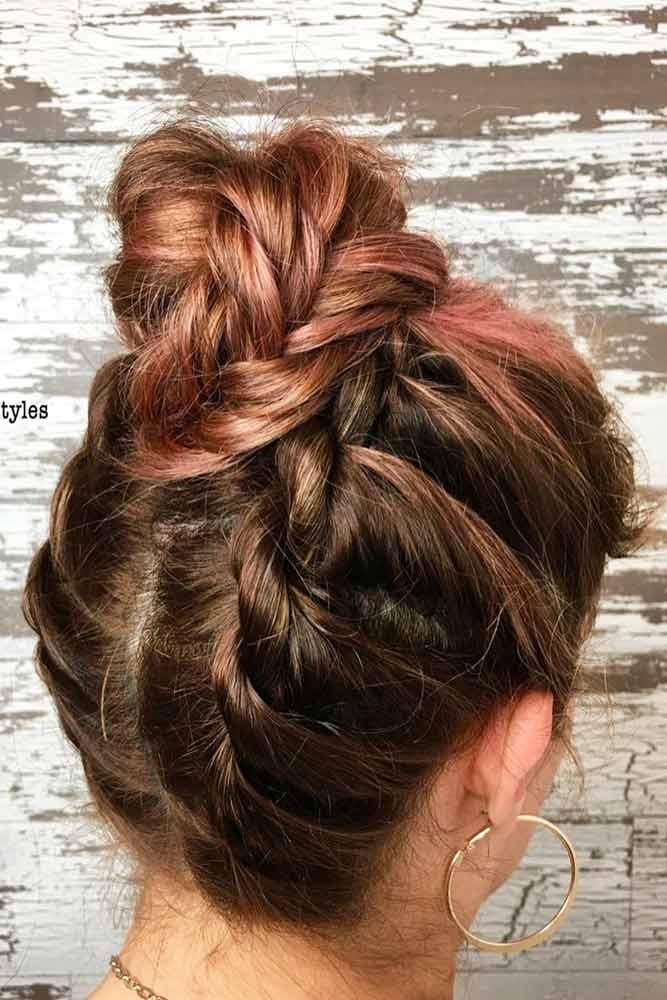 Twist Braids Into High Bun #hairbun #shorthair #bunhairstyles #hairstyles #braids