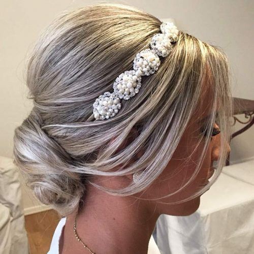 Elegant Bun With Tiara For Brides #hairbun #shorthair #bunhairstyles #hairstyles #blondehair