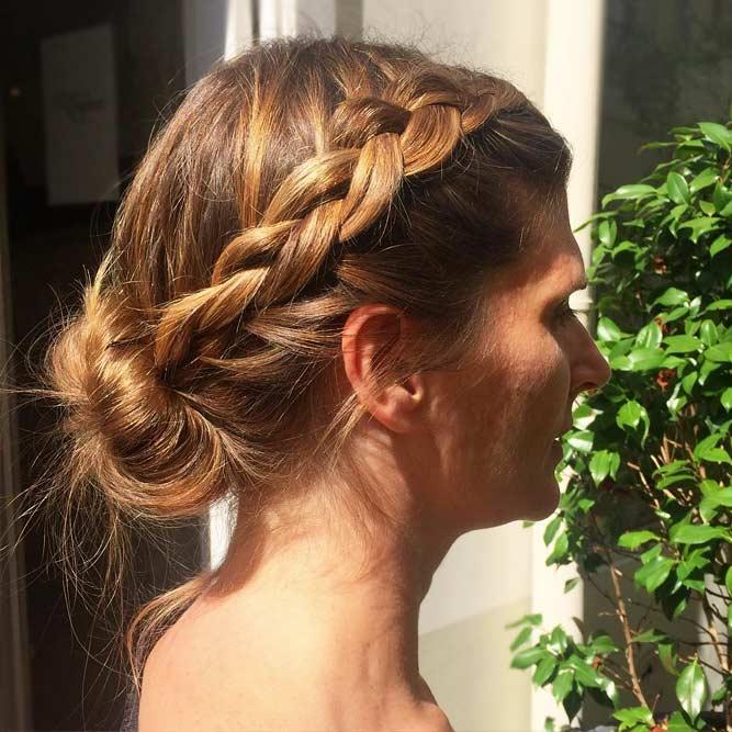 Girly Low Braided Bun #hairbun #shorthair #bunhairstyles #hairstyles #braids