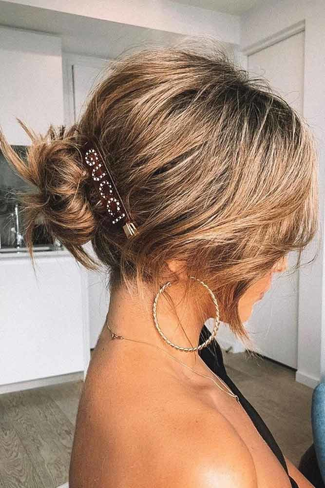 Messy Low Bun With Bobby Pins #hairbun #shorthair #bunhairstyles #hairstyles