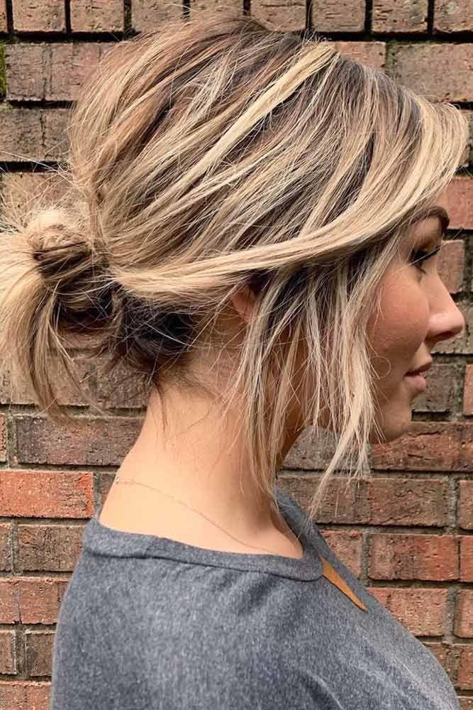 Messy Low Bun #hairbun #shorthair #bunhairstyles #hairstyles