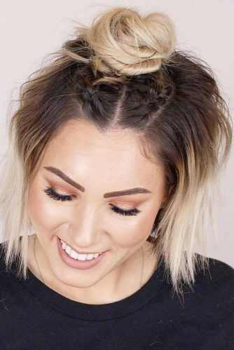 Braids Into Half Bun #hairbun #shorthair #bunhairstyles #hairstyles