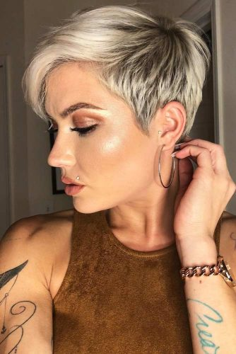 Deep Side Parted Pixie #shorthairstyles #shorthair #hairstyles #pixiehaircut #shortpixie