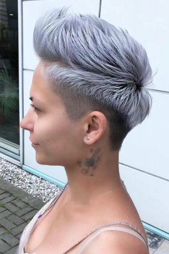 Pompadour Works Good Rocking Your Hair #shorthairstyles #shorthair #hairstyles #pixiehaircut #lilachair