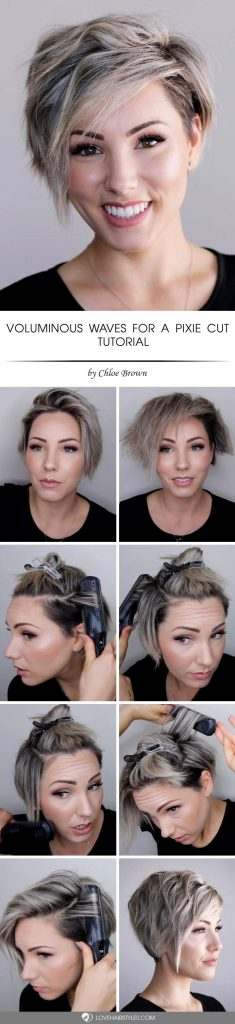 How To Style A Pixie Cut With Voluminous Waves #shorthairstyles #shorthair #tutorial #pixiehaircut #greyhighlights