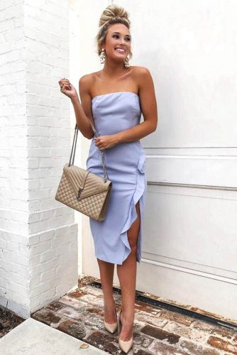 Off-The-Shoulder Neckline Dress With Side Slit #outfits #bun