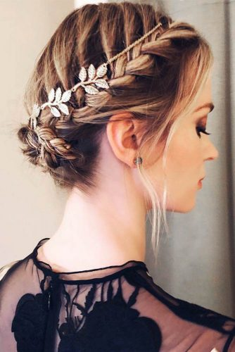 See-Through Neckline Dress With Waterfall Braid #outfits #braids #updo