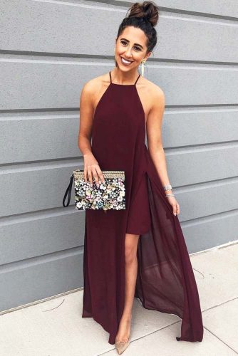 Burgundy Red High-Low Dress With High Bun #outfits #bun